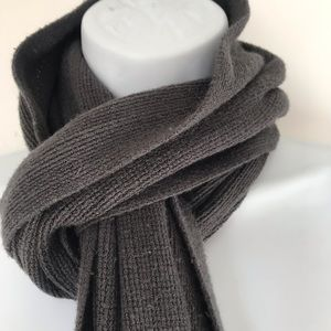 Accessories - Gray Thin Knit Long Fringe Scarf